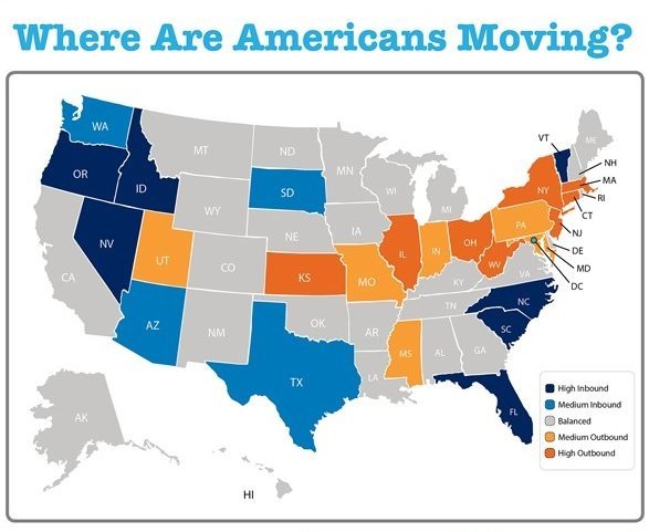 Where are American are moving?