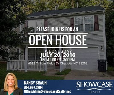 Open House, Open House Schedule, Open House Charlotte NC, Charlotte NC 28269, 4512 Trillium Fields Dr Charlotte NC 28269, Home For Rent, House For Rent