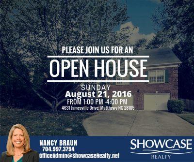 Open House, Open House Schedule, 4631 Jamesville Drive Matthews NC 28105