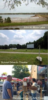 John H. Moss Lake,Sunset Drive-In Theatre,Cleveland County Arts Council, home for sale