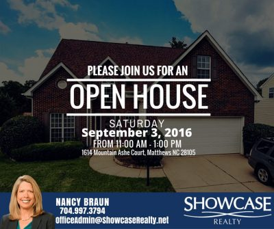Open House Open House : 1614 Mountain Ashe Ct Matthews NC 28105