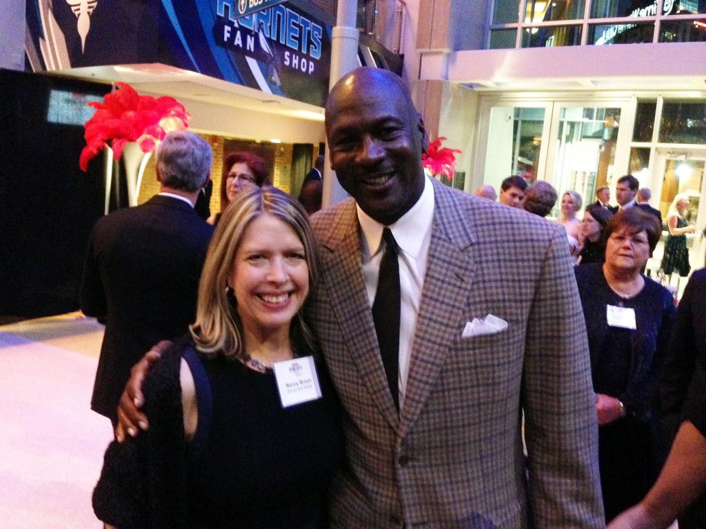 Charlotte NC real estate agent Nancy Braun meets Michael Jordan