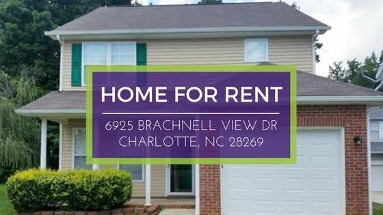 For Rent: 6925 Brachnell View Dr. Charlotte NC 28269