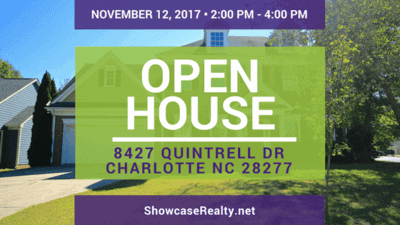 Home for Sale Open House: 8427 Quintrell Dr Charlotte NC 28277