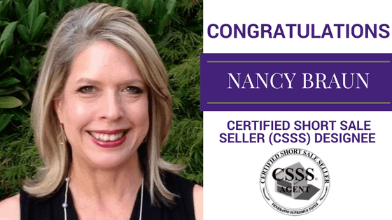 Congratulations to Nancy Braun, Certified Short Sale Seller Designee!