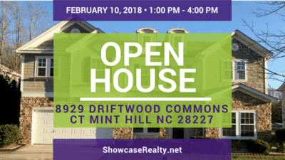 Home for Sale Open House: 8929 Driftwood Commons Ct Mint Hill NC 28227